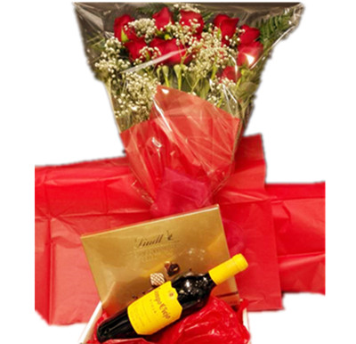Chocolate wine roses gift basket