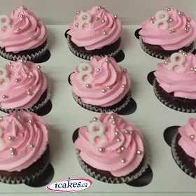 Pink frosting cupcakes (12)