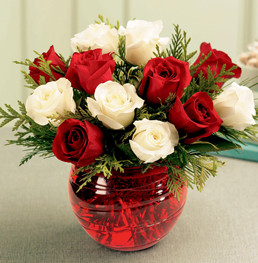 White red roses bouquet