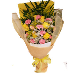 Yellow pink theme bouquet
