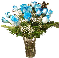 Blue roses arrangement (dozen)