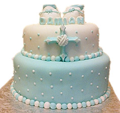 2 tier baby shoes cake